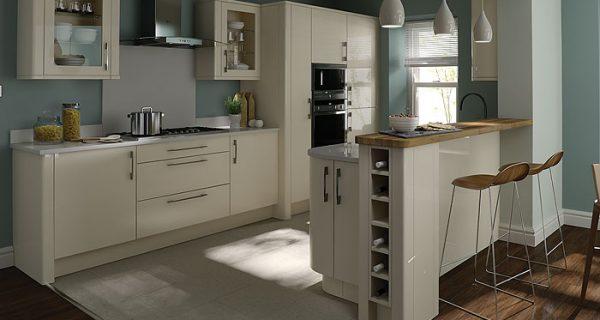 modern kitchen design in white with wine rack